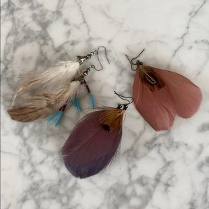 Set of feather earrings